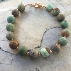 Men's Bracelet, Green Opal with Copper or Sterling Silver,