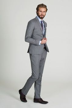 The Light Grey Texture Suit - Barkers