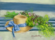 Groceries, Art, and My Hat With Wildflowers