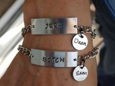 Bitch / Jerk Hand Stamped bracelets inspired by Sam and Dean Winchester of Supernatural (SET) on Etsy, $19.99