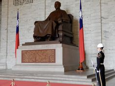 Taiwanese Honor Guard Stands Motionless At The Chiang Kai Shek Memorial Hall