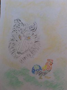Wolfshund und Hahn