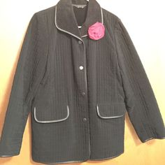 Talbots black quilted coat Black coat 4 front buttons, two pockets, quilted, warm, soft inside linen, black faux leather trim on all edges Talbots Jackets & Coats Blazers