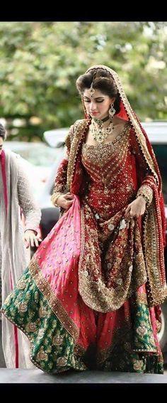 Masha allah red and green Pakistani bridal Indian Bridal Wear, Asian Bridal, Pakistani Wedding Dresses, Pakistani Outfits, Indian Dresses, Indian Outfits, Saris, Bridal Outfits, Bridal Lehenga