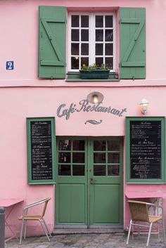 Paris Photography - Pink and Green Cafe, La Maison Rose, French Travel Photograph, Home Decor, Large Wall Art- Madame La Souris Paris Home Decor, Green Home Decor, French Home Decor, Home Decor Wall Art, Pink Cafe, Green Cafe, Green Wall Art, Pink Wall Art, Paris Cafe