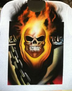 Airbrushed Ghost Rider Shirt by 57HeavenAirbrush on Etsy, $40.00
