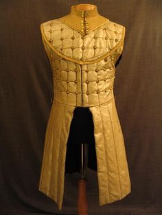 09029087 Gambeson Men's Medieval, tan beige pearlized pleather, studded, C37.JPG