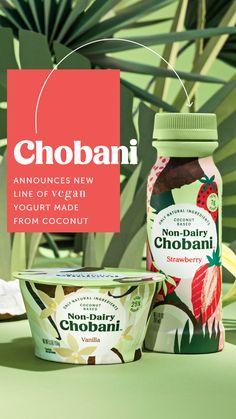 Chobani Announces New Line of Vegan Yogurt Made From Coconut Food Branding, Food Packaging Design, Packaging Design Inspiration, Brand Packaging, Yogurt Packaging, Beverage Packaging, Coffee Packaging, Bottle Packaging, Dairy Free Yogurt