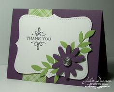 SU Elegant Thank You, Silver Embossing Powder, Little Leaves Sizzlit, Top Note die, Flower Embosslit -sub a different flower