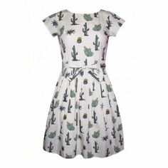 49025673ce Fun Cacti print dress from Run and Fly. Features beautiful illustrations  different cacti Cream background Fitted bust with flared skirt Keyhole back  detail ...