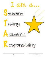 I am a... STAR (Student Taking Academic Responsibility) FREE binder cover in 4 colors.