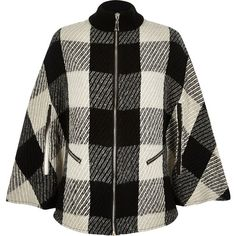 River Island Black check zip-up cape ($130) ❤ liked on Polyvore featuring outerwear, coats, accessories, black, capes / ponchos, women, cape poncho, poncho cape coat, black poncho and river island