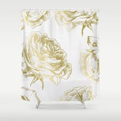 gold and pink shower curtain. Roses Gold Shower Curtain More Faux gold foil arrows by Jaclyn Rose Design