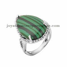 anillo con perla verde de plateado en acero para mujer-SSRGG161751