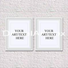set of two 8x10 white frame 16x20 vertical frame 24x30 white brick wallpaper backgroundempty framed artstyled photographyframe mockup