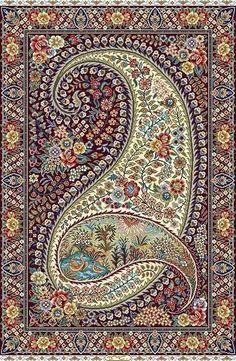 """Фото дня. Персидский шёлковый ковёр с традиционным иранским узором """"Бута"""". - Блог Резы Саджади"""
