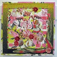 """""""Curiouser"""" -Alice in Wonderland themed fabric collage by Sandy Donabed incorporating vintage fabric & embroidery designs"""