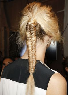 fishtail braided ponytail.