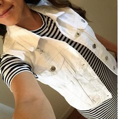 White Denim Vest Brand new with tags! Stylish distressed denim vest! No trades Use offer button to negotiate price JustFab Jackets & Coats Vests