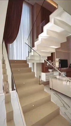 Home Stairs Design, Unique House Design, Home Building Design, Bungalow House Design, Modern Stairs Design, Room Design Bedroom, Home Room Design, Home Interior Design, Interior Architecture