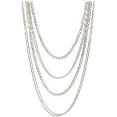 Fossil Modern Heirloom Multichain Necklace ($156) ❤ liked on Polyvore featuring jewelry, necklaces, accessories, shiny silver, multiple chain necklace, adjustable chain necklace, silver tone necklace, adjustable necklace and multi layer chain necklace