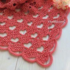 "Shawl "" Hello March with hearts"" By Fionitta | Fionitta crochet"