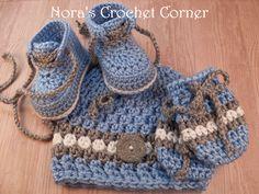 Crochet Baby Boy Beanie Hat Shoes Mittens by NorasCrochetCorner, $32.00