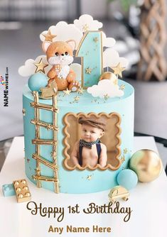 Half Birthday Cakes, Boys 1st Birthday Cake, Unique Birthday Cakes, Birthday Cake With Photo, Baby Boy 1st Birthday Party, Themed Birthday Cakes, First Birthday Parties, Birthday Wishes With Name, Happy Birthday Greetings
