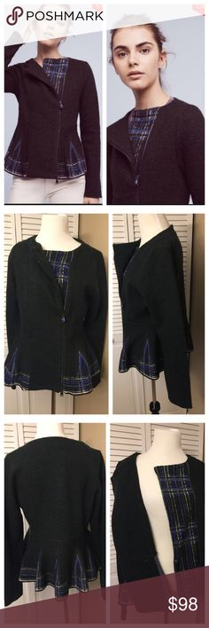 "NWT Anthroplogie Lelia Peplum Jacket by Monogram NWT Anthroplogie Lelia Peplum Jacket by Monogram  This sweater looks and feels very high quality.  The plaid is beautifully incorporated in a modern, intriguing way – the Scottish plaid at hem is woven into the material. The asymmetrical zipper gives the jacket a fresh feeling. All in all, its  fairly neutral yet versatile and unique.  Size: Medium  Armpit to armpit: 20""  Length 23 ½""  Wool, cotton  Hand wash  Style No. 4114529104607…"