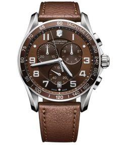 Victorinox Swiss Army Men's Chronograph Classic XLS Brown Leather Strap Watch 45mm 241653