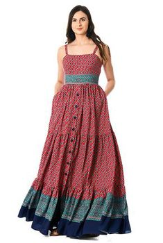 I this Floral tile border print crepe tiered maxi dress from eShakti Cotton Long Dress, Cotton Dresses, Casual Cotton Dress, Floral Dress Outfits, Casual Dresses, Indian Designer Outfits, Designer Dresses, Look Fashion, Fashion Outfits