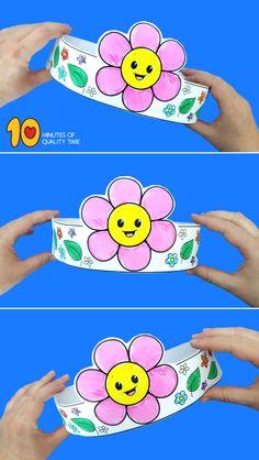 Flower Paper Crown : flower crown craft for preschoolers Spring Crafts For Kids, Summer Crafts, Easy Toddler Crafts, Crafts Toddlers, Hawaiian Crafts, Crown For Kids, Crown Crafts, Paper Crowns, Easy Arts And Crafts
