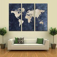 Free Shipping! This beautiful navy world map from BigWallPrints.com is an affordable way to make an impact in any room! Our panel art is printed on high quality canvas, and will stand the test of time