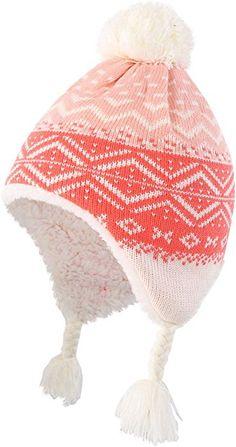 63b9eacce33 ... Infant Baby Knit Kids Hat Sherpa Lined Beanie Skull Cap with Earflap  Warm Winter Beanies Cap