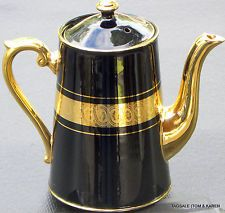 4 Cups Coffee / Tea Pot ~ GIBSON & SONS LATE BY SEVRES DAVENPORT ~ Black / Gold.