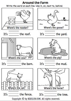 Here's a page for students to practice positional terms around the farm.