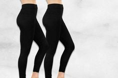 2 Pairs of Black Fleece-Lined Leggings