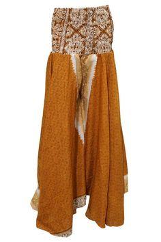 Women's Maxi Skirt Brown Floral Vintage Silk Boho Long Skirts