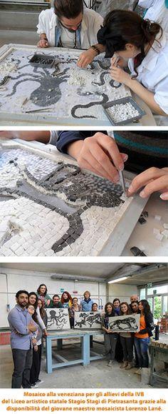 Mosaico alla veneziana per gli allievi della IVB Arti figurative del Liceo artistico statale Stagio Stagi di Pietrasanta grazie alla disponibilità del giovane maestro mosaicista Lorenzo Lané.