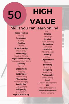 You can learn just about anything online! Here's a list of great skills you can learn online - for free! Get started. Learn A New Skill, Skills To Learn, New Things To Learn, Life Skills, List Of Skills, 5am Club, Entrepreneur Books, Vie Motivation, Productive Things To Do