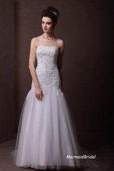Ivory Vintage lace applique Wedding dress Mermaid by MermaidBridal