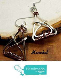 Triangle Crossover Earrings Silver Wire Square Wire Vintaj Wire Wrapped Geometric Minimalist Small from Marokel Industrial Designs https://www.amazon.com/dp/B01N3OGZRQ/ref=hnd_sw_r_pi_dp_UV7hyb116Y2JY #handmadeatamazon