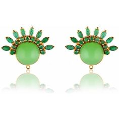 Ergo Sum Jewels - The Bagan Studs ($475) ❤ liked on Polyvore featuring jewelry, earrings, jewel mint jewelry, stud earrings, cabochon earrings, beaded jewelry and mint green stud earrings