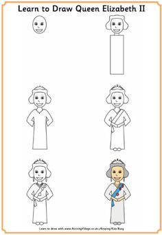 Queen Elizabeth II - fun activities for kids suitable for Royal occasions, the Queen's birthday etc. Bunting Template, Royal Paper, London Drawing, Activity Village, Royal Craft, Queen 90th Birthday, Queen Of England, Thinking Day, The Draw
