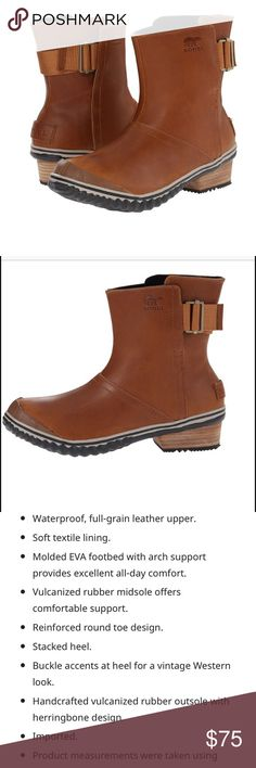 Sorel Slimboot Pull On New in box!  Easy, chic pull in weather boots!  Color is Curry and black. Leather upper, rubber sole.  Boot is light like actual picture. Sorel Shoes Winter & Rain Boots