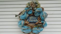 Burlap/Blue Gone Fishing Cabin Wreath by DesigningSpaces on Etsy, $149.00