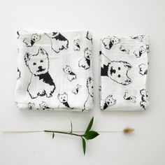 Organic Muslin Swaddle Blanket And Burp Cloth Set With West Highland Terrier, Muslin Wrap For Baby, Stroller Cover, Baby Summer Blanket West Highland Terrier, Stroller Cover, Stroller Blanket, Gifts For Dog Owners, Dog Lover Gifts, Dog Lovers, Muslin Swaddle Blanket, Burp Cloth Set