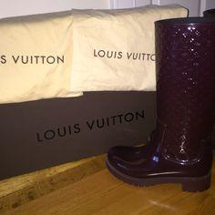 Louis Vuitton splash boots Worn less than 10 times. Burgundy Louis Vuitton splash boots. Come with original box, dust bags, and care booklet. Louis Vuitton Shoes Winter & Rain Boots