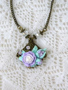 Bronze necklace with polymer clay roses and strass  by EVAMARE