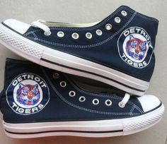 Custom Converse Detroit Tigers Baseball Team Hand Painted On Convlerse Shoes. $89.99, via Etsy.